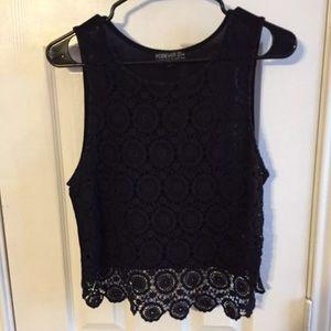 F21+ crochet lace tank top